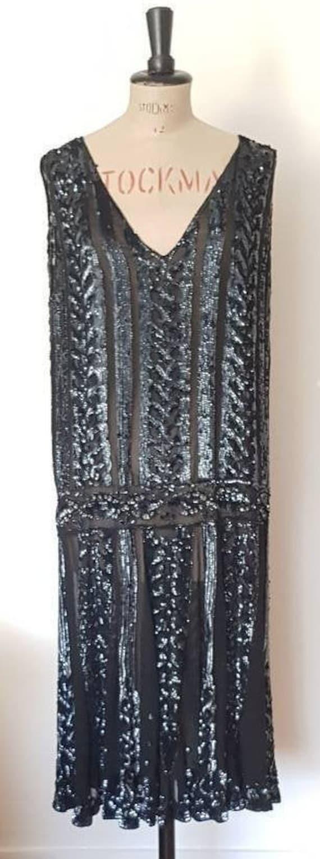 authentic 20s black sequin flapper silk dress uk 1