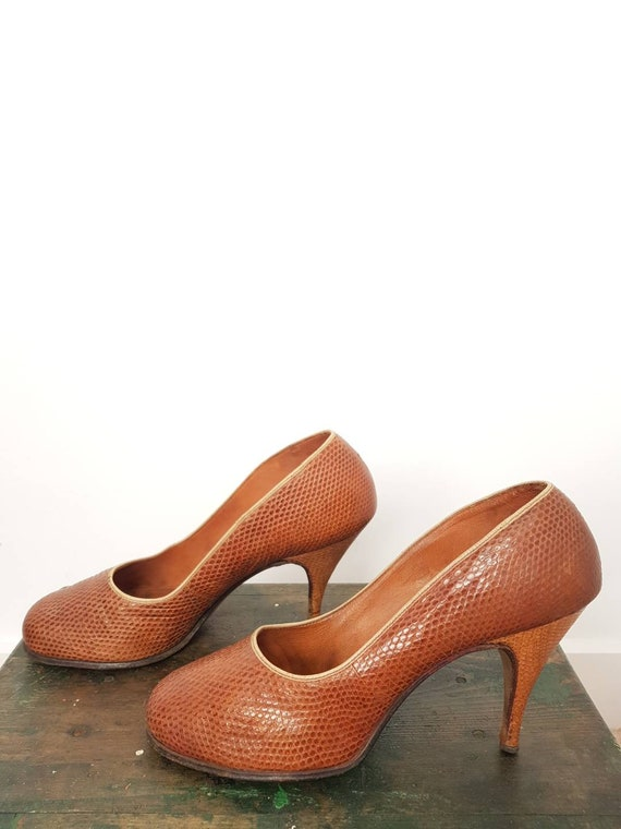 40s tan lizard skin high heel shoes UK 5, US 7, WW
