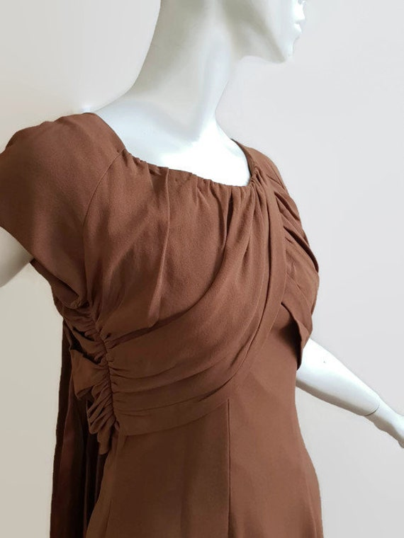 M L 50s coffee dress shoulder train trudy cooper … - image 5