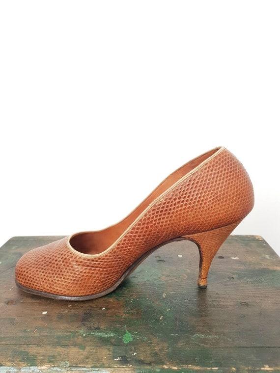 40s tan lizard skin high heel shoes UK 5, US 7, W… - image 3