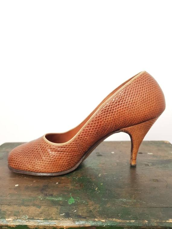 40s tan lizard skin high heel shoes UK 5, US 7, W… - image 2