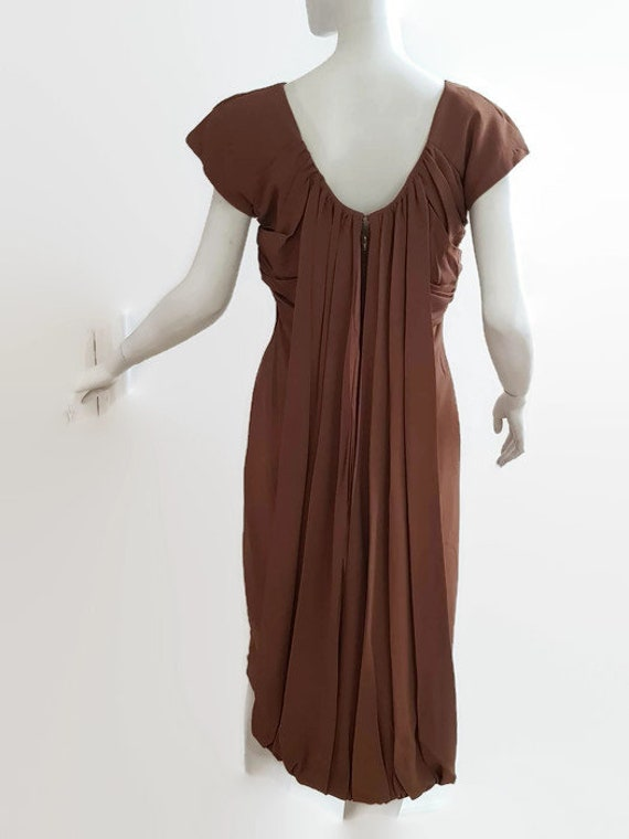 M L 50s coffee dress shoulder train trudy cooper … - image 2