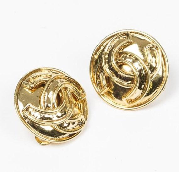 Chanel button earrings, chanel cc logo earrings ch