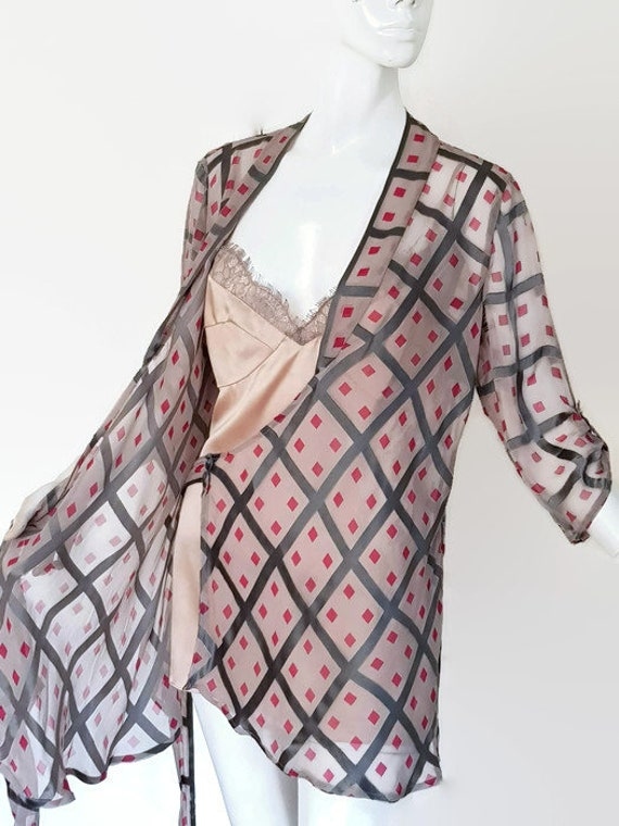 M L DVF silk wrap blouse grey pink blush camisole