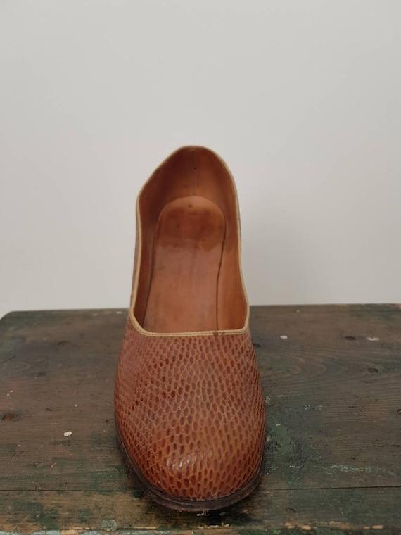 40s tan lizard skin high heel shoes UK 5, US 7, W… - image 9