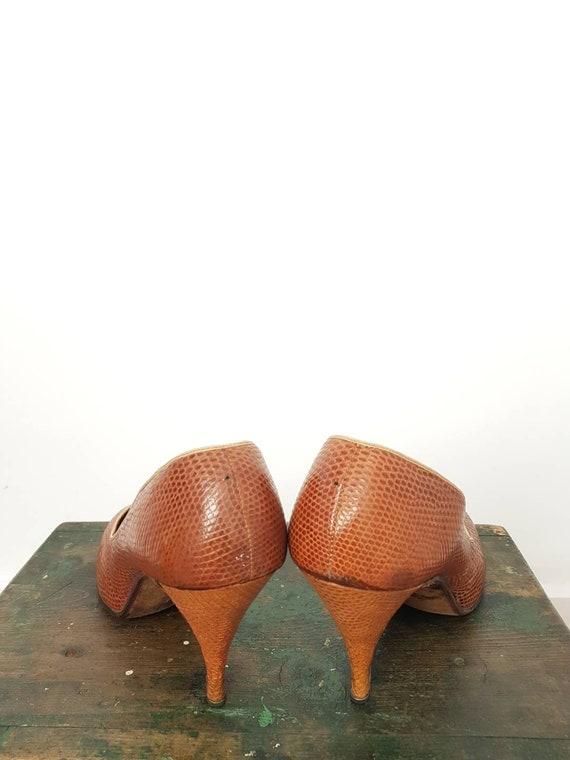 40s tan lizard skin high heel shoes UK 5, US 7, W… - image 7