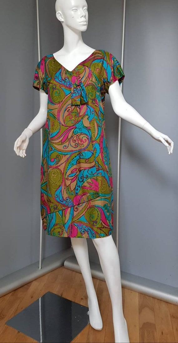 XS S 60s psychedelic FRANK USHER silk dress