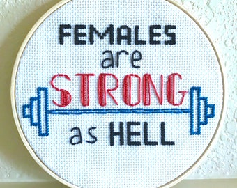 Feminist Cross Stitch Unbreakable Kimmy Schmidt Females Are Stong As Hell Quote Embroidery Hoop Art Wall Decor