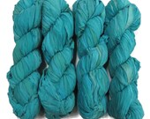 New Sari Silk Chiffon Ribbon yarn , color Baltic Sea