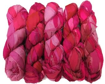 Sale! Premium  Iridescent Sari Silk  Ribbon yarn , 100g (50 yards) color Pink Medley