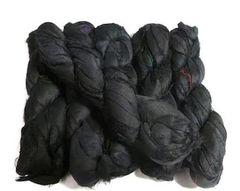 Premium Recycled Sari Silk Ribbon, Jet Black , 100g (50 yards)