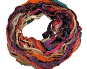 New! Sari Silk Chiffon Printed and Embroidered Ribbon with embellishments,  100g per skein