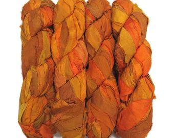 New! Irridescent Sari Silk  Ribbon yarn , 100g (50 yards) color : Golden Yellow / dijon  Mix