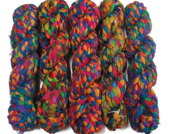 Braided Sari Silk Ribbon Cording 3 Ply ,  Multi Mix