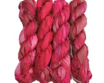 Sale! Recycled Sari Silk Ribbon, 100g skeins , color: Azalea
