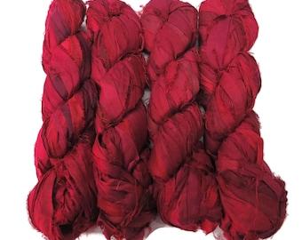 Sale! Irridescent Sari Silk  Ribbon yarn , 100g (50 yards) color Dark Red