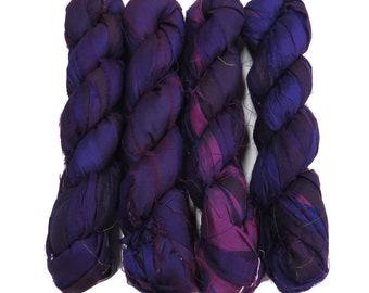 New! 100g, Sari Silk Ribbon, 50 yards, Color:  Indigo Purple