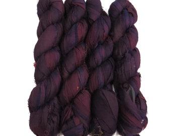 New! 100g, Sari Silk Ribbon, 50 yards, Color:  Grape
