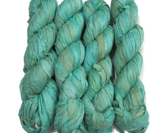 New! 100g, Sari Silk Ribbon, 50 yards, Color:  Ocean Spray