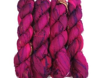 Sale! Recycled Sari Silk Ribbon, 100g skeins , color: Berry Burst