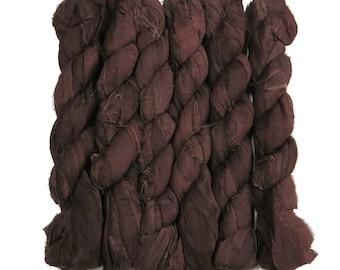 New! 50g Sari Silk Ribbon, 25-28 yards , color Swiss Chocolate