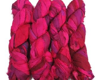 New ! Sari Silk Irridescent Ribbon, 100g , color: Magenta Mix