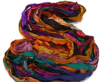 Sale! Recycled Sari Silk Ribbon, Multi Mix Jewel Tones