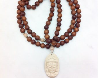 White Buddha Mala Beads with sandalwood and moonstone, Buddhist Prayer Beads, 108 Mala Beads for calming and soothing