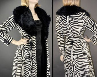 Faux Fur Coat Zebra Animal Print Made in ENGLAND! / Vintage 1970s Ladies Small or XS