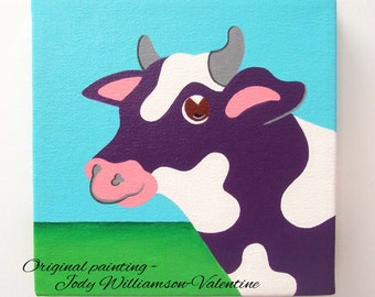The Purple Cow ..at the Barn Original Gallery Art - Painted by Jody Williamson-Valentine