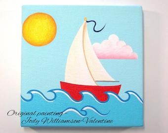 Sailboat Original Canvas Art - Painted by Jody Williamson-Valentine