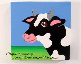 The Black Cow ..at the Barn Original Gallery Art - Painted by Jody Williamson-Valentine