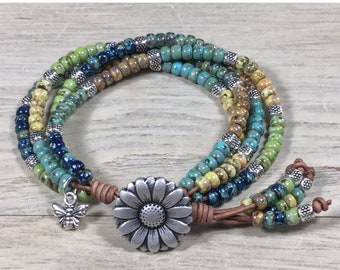 Boho Wrap Bracelet, Leather Bracelet, Beaded Wrap Bracelet, Leather Jewelry, Boho Bracelet, Beaded Bracelet Bohemian Jewelry, Charm Bracelet