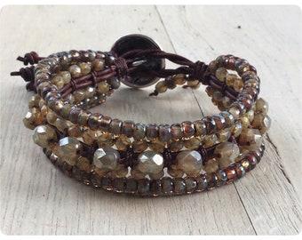 Beaded Leather Wrap Bracelet, Beaded Leather Cuff, Boho Wrap Bracelet,  Wrap Bracelets for Women,  Boho Jewelry, Boho Bracelet,  Earth Tone