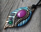 Polymer clay pendant, Fairy clay pendant, Elvish necklace, Autumn clay pendant, Gypsy boho jewelry, clay leaf pendant, clay feather pendant