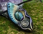Clay pendant Enchanted clay pendant Fairiy necklace Talisman amulet Agate clay pendant Spiritual jewelry