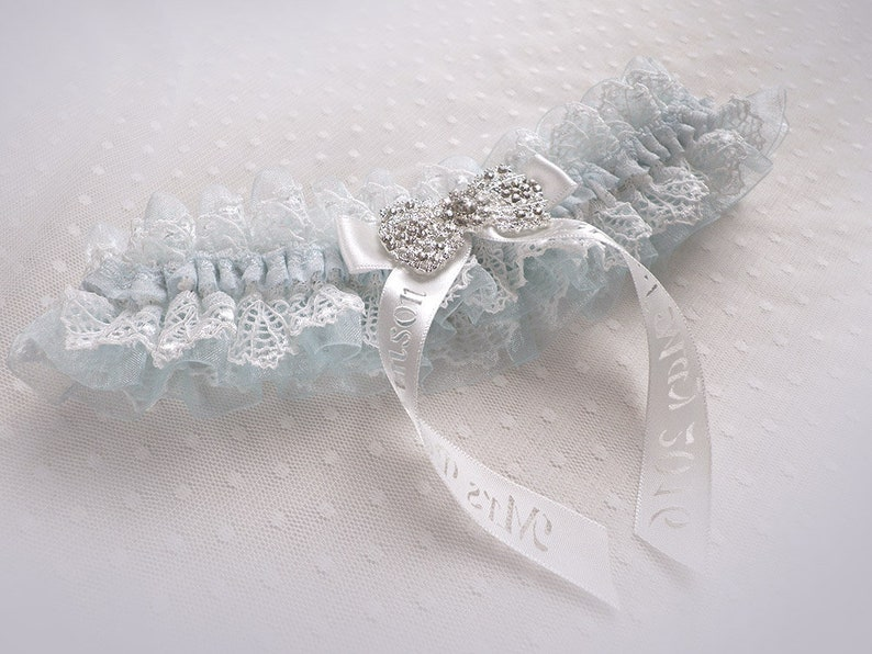 Vintage wedding bridal personalized garter light blue organza ivory lace