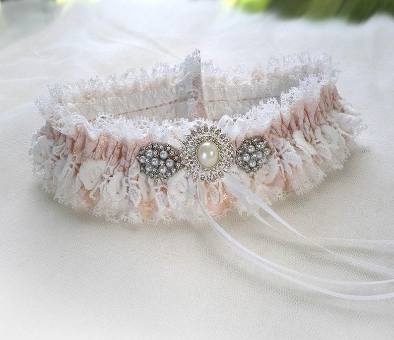 Personalized Off white Ivory light pink lace garter wedding bridal  garter Vintage inspired