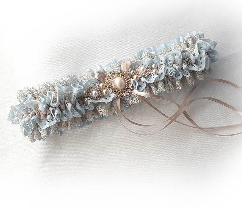 Blue /& champagne nude lace garter Wedding garter Vintage style bridal