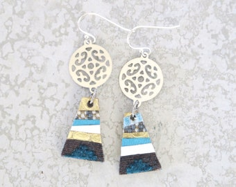 Small Blue Drop Earrings, Fabric and Leather Jewellery, Sustainable Gift