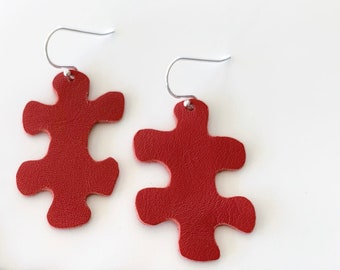 Puzzle Leather Earrings in Black / Red, Best Friend Birthday Gift, Love Gift for Girlfriend, Wife Anniversary