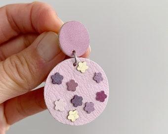 Pink Purple Earrings, Flower Drop Earrings, Floral Spring Jewellery, Leather Gift