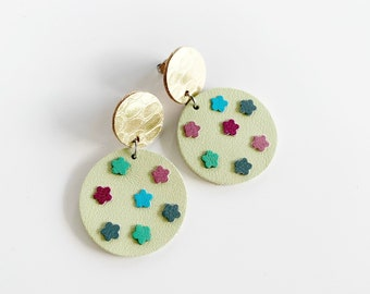 Mint Green and Gold Earrings, Floral Statement Earrings, Spring Birthday, Jewellery Gift for Her