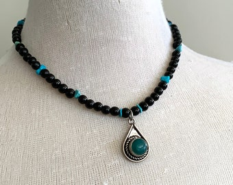 Turquoise and Black Necklace for Women, Short Beaded Necklace, Upcycled Bead Jewellery