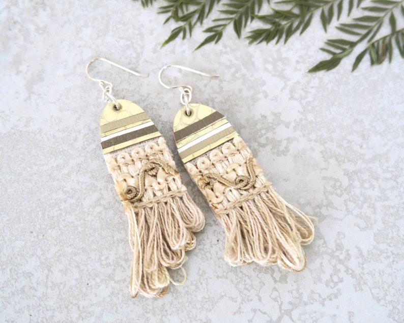Bride Statement Earrings Gold and Cream Rustic Boho Wedding image 0