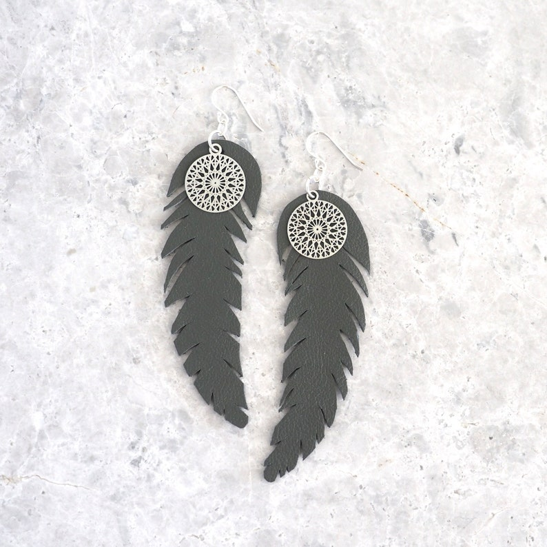 Feather Leather Earrings Large Boho Earrings Sterling Silver image 0