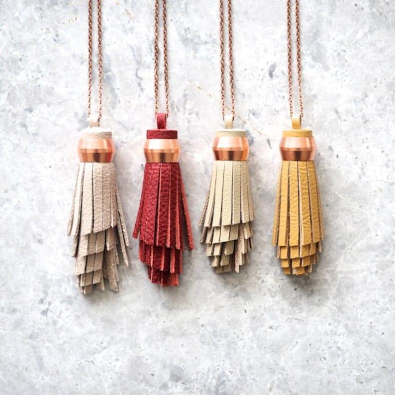 Sustainable Bridesmaid Gifts Leather Tassel Necklaces Boho image 0