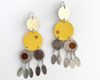 Yellow and Gold Statement Earrings, Extra Large Dangle Earrings, Boho Leather Jewellery