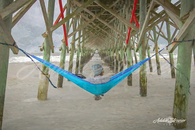Meditation Hammock Pier Peaceful Swing Beach Eno Blue Digital Painting Print