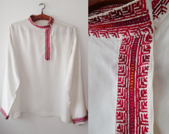 Vintage Embroidery shirt ,Red Embroidery,hand made